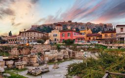 Athens with Acropolis at sunrise, Greece stock photos