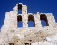 Athens Acropolis Theater. Gate with blue sky backgrount royalty free stock photo