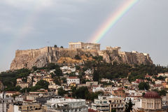 Athens Acropolisregnbåge Royaltyfria Foton