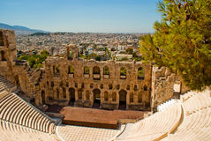 Athens Amphitheater from the Parthenon Royalty Free Stock Photo