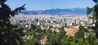 Athens as seen from Lycabettus hill, Greece royalty free stock images