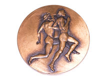 Athens 1982 Athletics European Championships Participation medal, reverse. Kouvola, Finland 06.09.2016. Athens 1982 Athletics European Championships Royalty Free Stock Photography