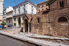 ATHENS-AUGUST 22: The Church of Panaghia Kapnikarea on August 22,2014 in Athens, Greece. Royalty Free Stock Photo