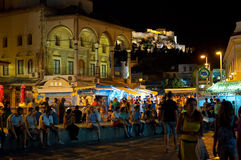 ATHENS-AUGUST 22: Nightlife on Monastiraki Square on August 22, 2014 in Athens, Greece. Nightlife on Monastiraki Square on August 22, 2014 in Athens, Greece Royalty Free Stock Image
