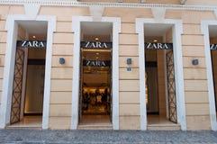 ATHENS-AUGUST 22: Zara store on Emrou street on August 22,2014 Athens, Greece. Royalty Free Stock Photos