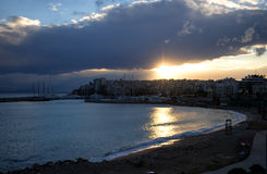 Athens bay at sunset, panoramic view from above Royalty Free Stock Photo