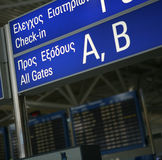 Athens boarding gates sign Royalty Free Stock Image