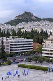 Athens city in Greece with Lycabettus Hill royalty free stock image