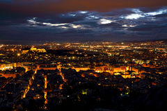 Athens city from Lycabettus Hill at night Stock Photos