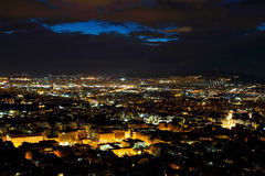 Athens city from Lycabettus Hill at night Royalty Free Stock Photos