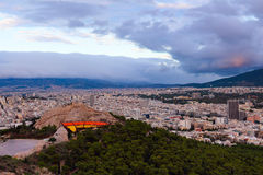 Athens city from Lycabettus Hill at sunset Stock Photography