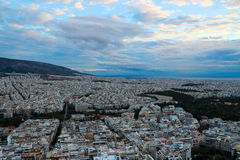 Athens city from Lycabettus Hill at sunset Royalty Free Stock Photo