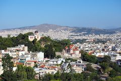 Athens City, Orthodox Churches, Greece. View of Athens city, with two large Greek Orthodox churches, from the Areopagus hill, a rocky outcrop beside the royalty free stock image