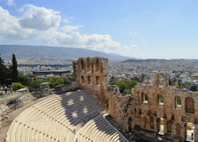 Athens city view from Ancient stadium. In the ancient acropolis of Rhodes visitors have the chance to admire the remaining of the ancient stadium of Rhodes Royalty Free Stock Photography