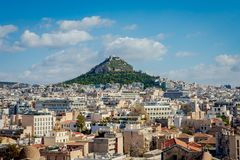 Athens city view with Lycabettus hill stock image