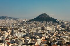 Athens city view with Lycabettus hill stock photography
