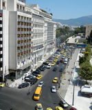 Athens cityscape, Greece. Athens,  Greece - August 28: Cityscape of Athens with cars and yellow taxis near Syntagma square on August 28, 2014  in Athens  Greece Stock Photography