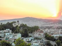 The Athens cityscape. The National Observatory of Athens and Church of St Marina in Thissio Royalty Free Stock Image