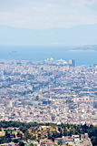 Athens cityscape och port med kryssningshipen Royaltyfri Fotografi