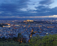 Athens cityscape in the twilight, Greece Royalty Free Stock Photography