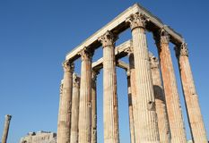 Temple of Olympian Zeus. Athens is the cradle of classical civilization and philosophy. Also for the architecture temples, columns and capitals have spread in Stock Image
