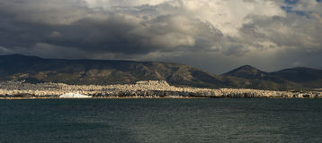 Athens cruise port panoramic view from above Royalty Free Stock Photo