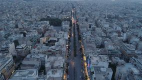 Athens at dusk, aerial view. Greece stock footage
