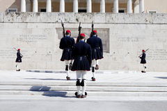 Athens Evzones Changing of the Guard. Athens, Greece - March 12, 2013: Changing of the Guard at the Parliament building Stock Photos