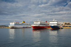 Athens. Ferries in passenger port of Piraeus, Athens, Greece Stock Image