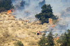 Athens forest fires. Greek struggle to extinguish forest fires Royalty Free Stock Image