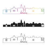 Athens GA skyline linear style with rainbow Stock Photography
