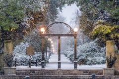 University of Georgia. Athens, Georgia, USA at the University of Georgia campus arch in winter stock photo
