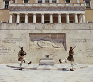 Athens - Greece. Guards outside Greek Parliament Building in the city of Athens in Greece Royalty Free Stock Photo