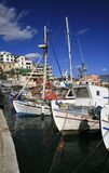 Athens, Greece. Traditional greek fishing boats at the harbor of Mikrolimano Royalty Free Stock Images