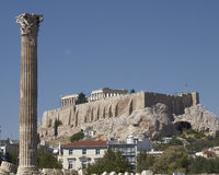 Athens Greece, Acropolis and column of olympian zeus temple. Athens Greece, Acropolis and a column of olympian zeus ancient temple Stock Photography