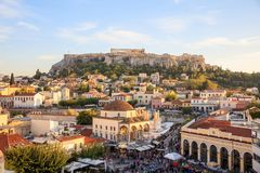 Athens, Greece. Acropolis rock and Monastiraki square. At afternoon, blue sky background Royalty Free Stock Photography