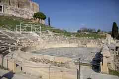 athens greece acropolis Teater av Dionysus - Immagine Teatern av Dionysus marmorerar platser, Aten, Grekland arkivbilder
