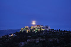 Athens Greece, acropolis under full moon. Athens Greece, acropolis in the twilight under full moon Stock Images