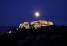 Athens Greece, acropolis under full moon Royalty Free Stock Photography