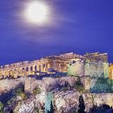 Athens Greece, acropolis under full moon. Athens Greece, acropolis in the twilight under full moon Stock Photography