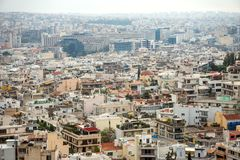 Athens, Greece. Aerial view on rooftops and houses in Athens, Greece royalty free stock photos