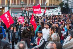 ATHENS, GREECE -  Anarchist protesters near Athens University Royalty Free Stock Photography