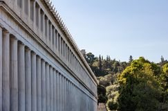 Athens, Greece. Ancient Agora, Attalus arcade stoa external view. Athens, Greece. Ancient Agora, Attalus arcade stoa external perspective view Royalty Free Stock Images