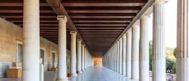 Athens, Greece. Ancient Agora, Attalus stoa. Athens, Greece. Ancient Agora, Attalus arcade stoa Stock Photography