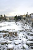 Athens, Greece - The Ancient Roman Agora in Snow Stock Image