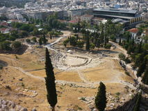 Athens, Greece. The Theatre of Dionysos - the ancient theatre at the Acropolis, a popular tourist attraction royalty free stock photography