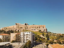 Athens, Greece 2 April 2017. People enjoying their coffee with the view of ancient Greek Acropolis of Athens. stock images