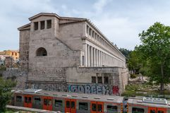 Athens, Greece 17 April 2017: The stoa of Attalos in the ancient Agora region of Athens, Greece. Royalty Free Stock Image
