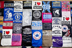 Athens, Greece - April 19, 2015 Tshirts souvenir shop in the capital of Greece at Athens Plaka - T-shirts merchandising with commo Stock Photography