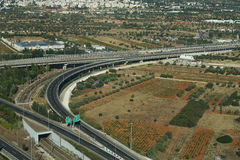 Athens, Greece - August 15 2016: Attica Tallway (Attiki odos) aerial view. This motorway is the fastest way to drive from the airport to Athens. There is a tall stock images